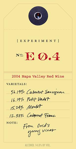 Experiment 2004 E0.4 wine label