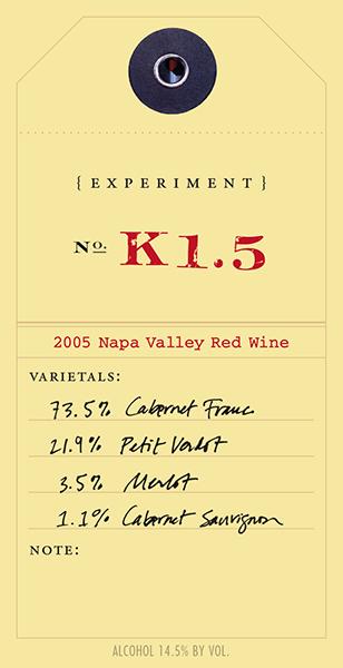 Experiment 2005 K1.5 wine label