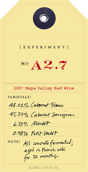 Experiment 2007 A2.7 wine label