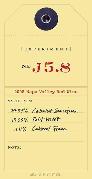 Experiment 2008 J5.8 wine label
