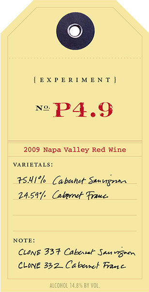 2009 Red Experiment 4.9 wine label