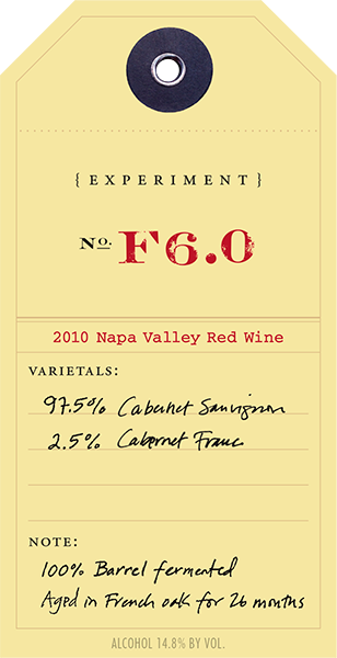 2010 Red Experiment F6.0 wine label