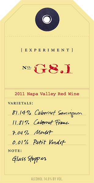 2011 Red Experiment G8.1 wine label