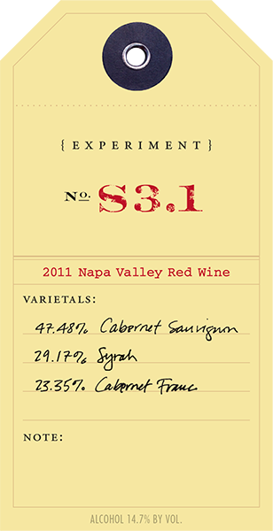2011 Red Experiment S3.1 wine label