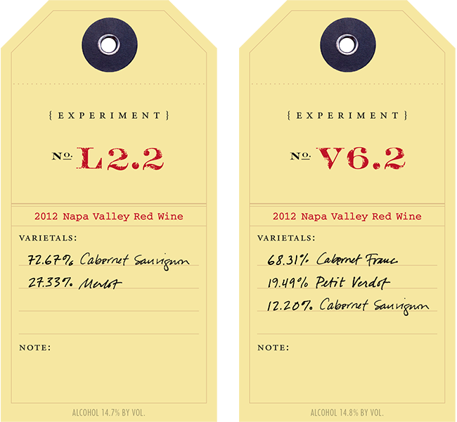 2012 Red Experiment L2.2 & V6.2 wine labels
