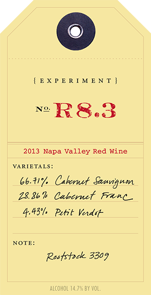 2013 Red Experiment R8.3 wine label
