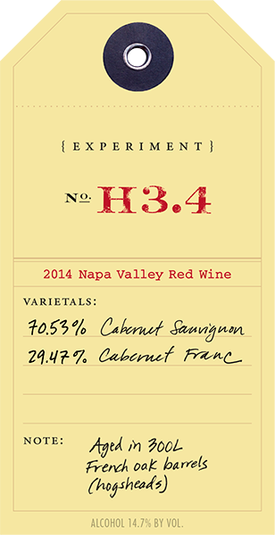 2014 Red Experiment H3.4 wine label