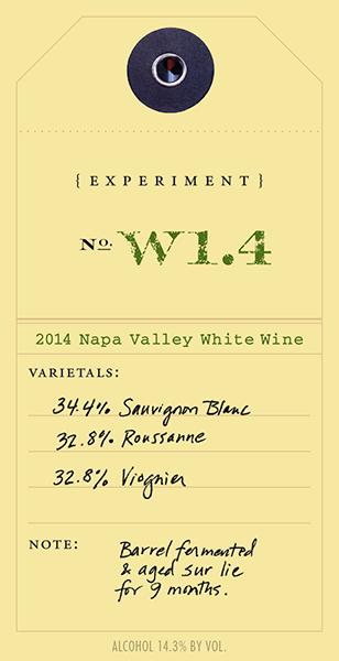 2011 White Experiment W1.4 wine label
