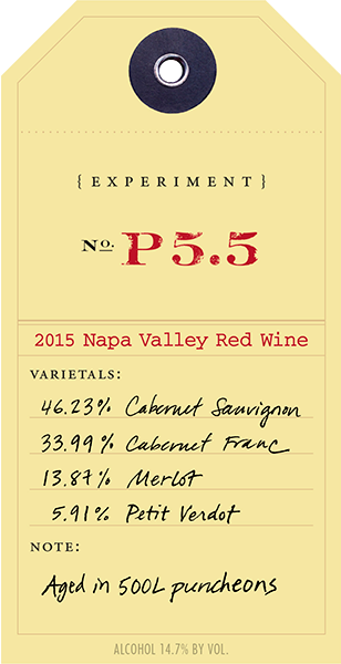 2015 Red Experiment P5.5 wine label