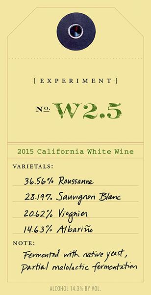 2015 White Experiment W2.5 wine label