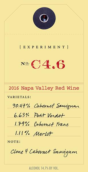 2016 Red Experiment C4.6 wine label