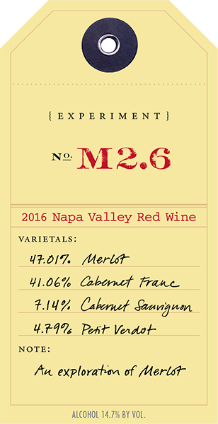2016 Red Experiment M2.6 wine label