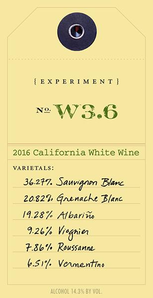 2016 White Experiment W3.6 wine label