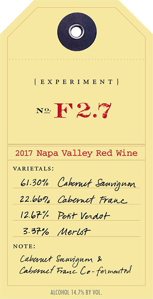 2017 Red Experiment F2.7 wine label