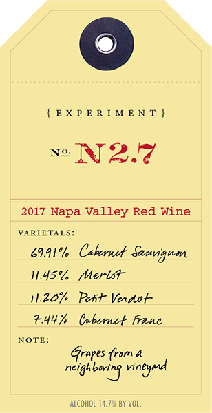 2017 Red Experiment N2.7 wine label