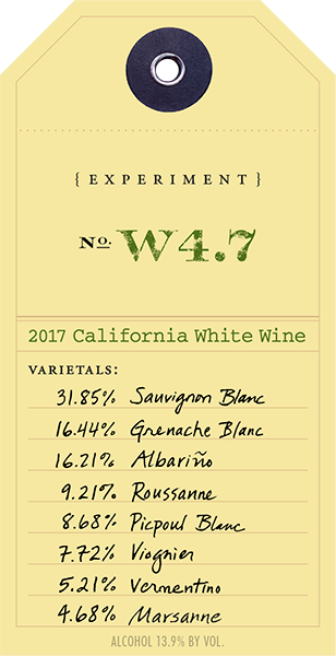 2017 White Experiment W4.7 wine label