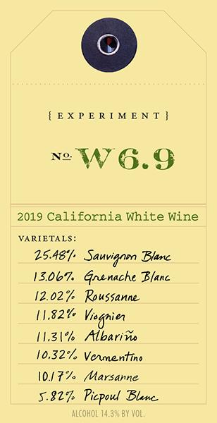 2019 White Experiment W6.9 wine label