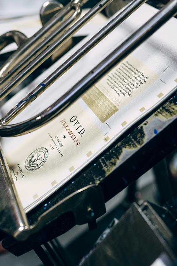 Hexameter label on printing press