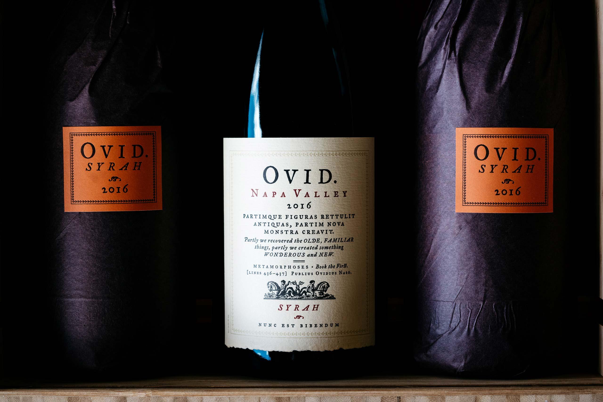 2016 OVID Napa Valley Syrah botles
