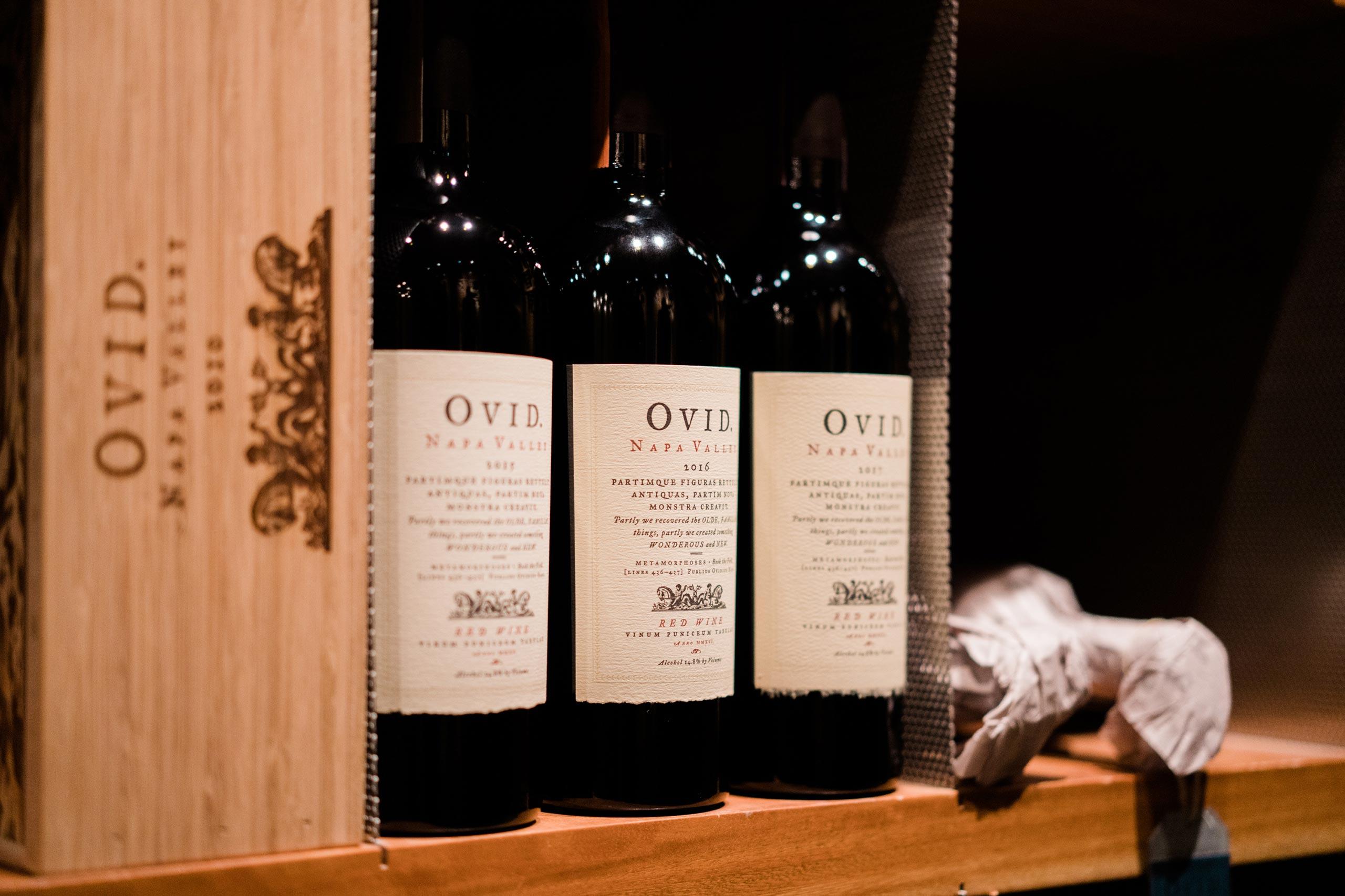 OVID Napa Valley wine bottles