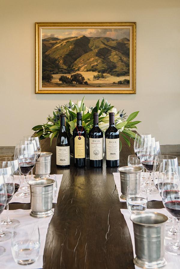 Seated wine tasting at OVID